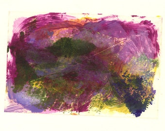 Landscape Study #6 Colourful monoprint in rich purples magenta green