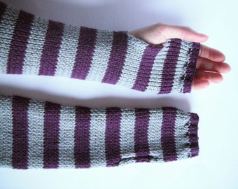 Fingerless Mittens in Slate and Purple - Handknitted Woollen Arm Warmers - Sale