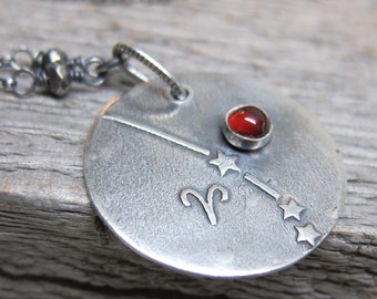 Constellation Aries Necklace  ... fine silver zodiac sign star constellation with silver pyrite and pyrope garnet