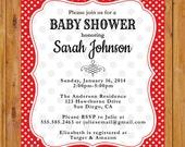 Red White Polka Dots Baby Shower Party Invitation Baby Girl Shower Invite DIY Printable 5x7 JPG (215)