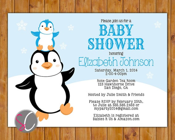 penguin baby shower invite stacked penguins winter it 39 s a boy blue