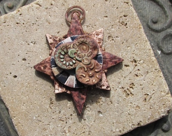 Handmade Pendant Inspired by Antique Maps of Earth and Stars No.2