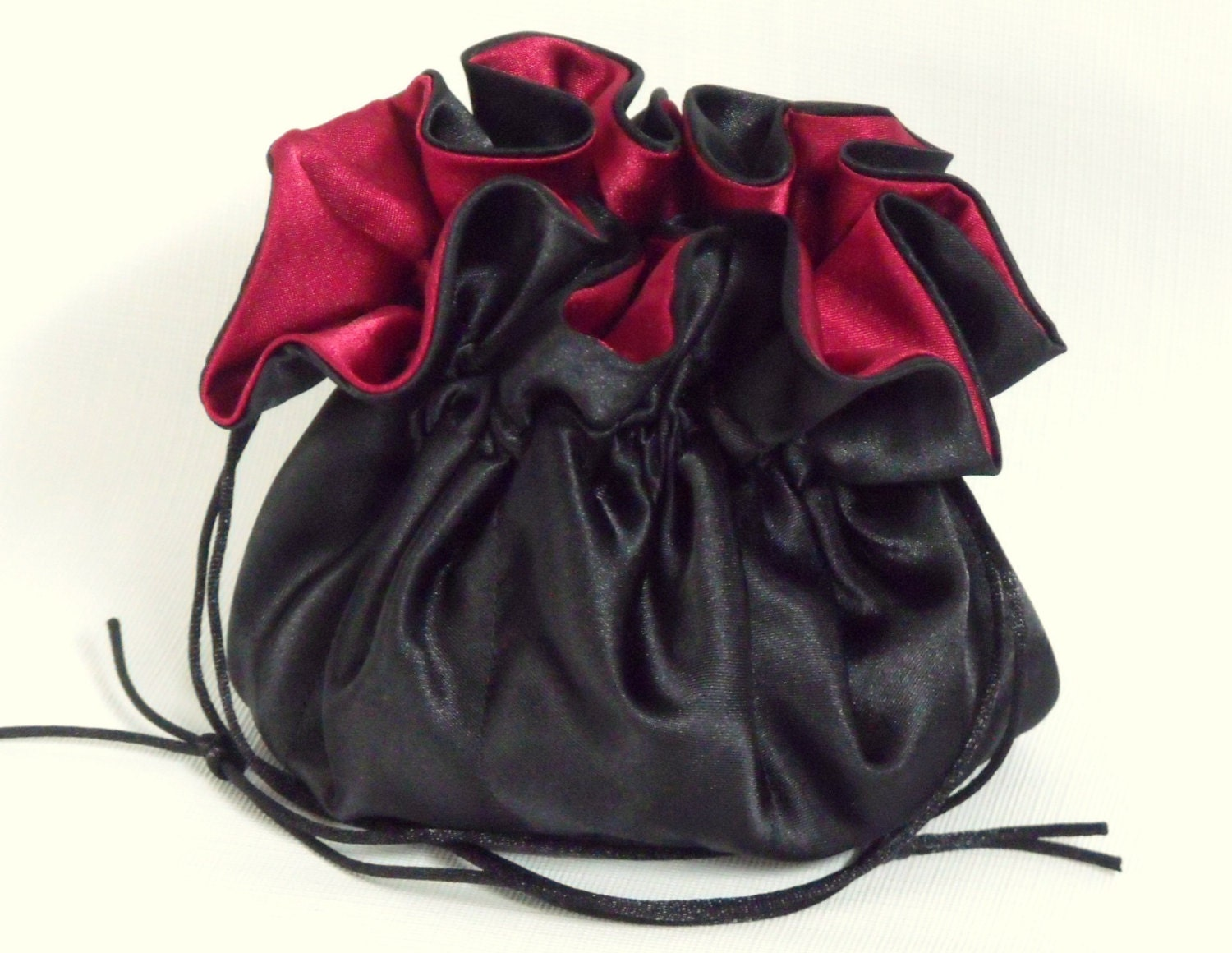 Jewelry drawstring travel bag black and dark red bridal satin for Wedding dress travel bag