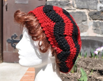 Red and Black Chevron Ripple Crochet Hat - Lightweight Beret - Women's Hat - Slouchy Hat