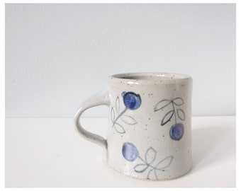 Tea cup coffee mug - ceramic cup gray blue with flowers - handmade pottery