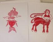Mermaid and Centuar -- a set of block prints