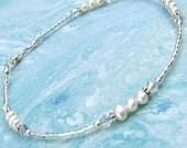 Ankle Bracelet Freshwater Pearl Crystal Sterling Silver Anklet
