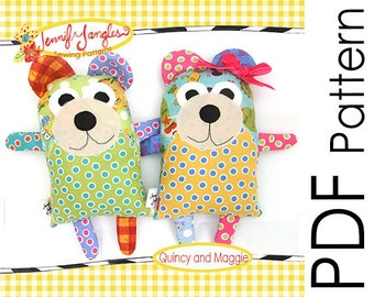 PDF Bear Sewing Pattern - Quincy and Maggie
