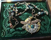 A Dragon Flies Over the Moon Steampunk Necklace