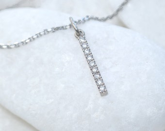 Pavé Diamond Bar Pendant - Eco 18k White, Yellow or Rose Gold - Handmade in the UK