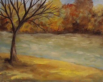 Bare Tree, Autumn, Riverbank, Tree Painting, River Painting, Outdoors, Camping, Hiking, Original Painting, Winjimir, Home, Landscape, Art,