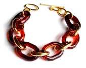 Faceted Tortoise Shell Vintage Link Chain Bracelet Link in Gold Autumn Fall Colors