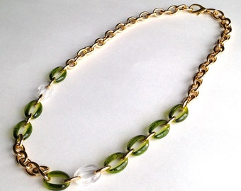 Statement Necklace Olive Green, Crystal Clear, and Gold Link Chain Necklace or Three Layered Stacking Bracelet Made with Vintage Links