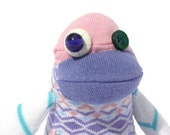 Pastel Baby Bird Sock Toy Stuffed Animal Purple Pink Plush Handmade from Recycled Clothing - BBB