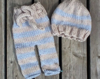 grey and blue striped pant and hat set