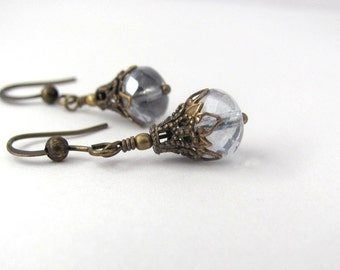 Blue Hawaii Earrings Vintage Style Golden Earrings Blue Gray Dangles Bridesmaid Earrings Wedding Jewelry Hawaiibeads