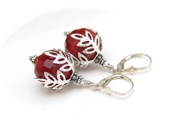 Dark Red Earrings Red Sterling Silver Swarovski Crystal Bold Dangles Holiday Jewelry Christmas Earrings Seasonal Jewelry Christmas Bride