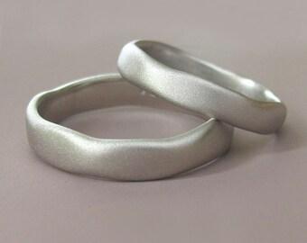 Palladium 950 River Wedding Band - Matte or Polished Finish - Choose a Width