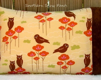 Travel Pillow Case - Toddler Girl Pillowcase ONLY - Hoot Owls and Minky Pillow Case - ON SALE, In Stock and Ready To Ship