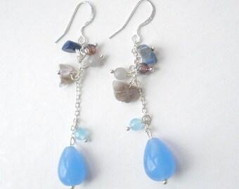 Blue Chalcedony Drop Dangle Earrings