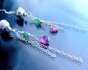 Tourmaline Earrings bubblegum pink n green in sterling silver with long chains briolettes