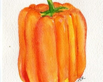 Yellow Orange Bell Pepper Watercolors Paintings Original, Small Vegetable Painting, Kitchen Wall Art, 4 x 6, original watercolor of pepper
