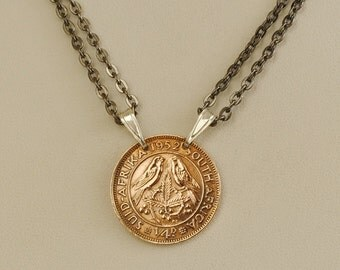 South Africa Coin Necklace 1952 Birds