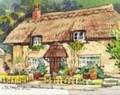 ACEO cottage watercolor Digital Download Painting // Printable Art // watercolors // Folks Art // Old buidling