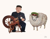 Junior (Kim Jong Un) At The Spinning Wheel Double-Sided Postcard