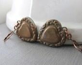 Heart Earrings, Brass Hearts, Brass Charms, Love Hearts, Vintage Hearts, Copper Jewelry, Heart Jewelry