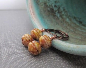 Mustard Glass, Glass Earrings, Terra Cotta, Copper Earrings, Concave Glass, Dangle Earrings, Czech Glass, Copper Jewelry