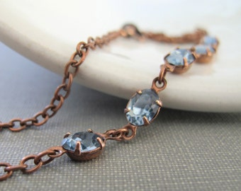 Rhinestone Necklace, Blue Necklace, Sapphire Jewel, Copper Chain, Chain Necklace, Vintage Glass, Copper Necklace, Sapphire Blue