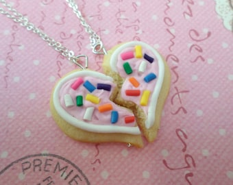 Best Friend Sugar Cookie Necklace Set: BFF Jewelry, Polymer Clay, Best Friend Necklace, Miniature Food Jewelry