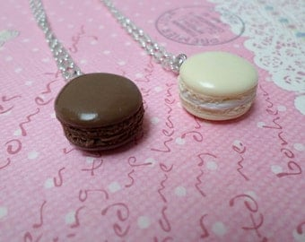 Chocolate or Vanilla Macaron Necklace, Miniature Food Jewelry, Polymer Clay Food Necklace