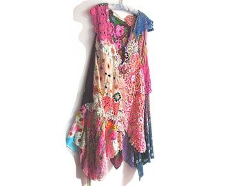 Boho Jacket, Long, Vintage Textiles, Linen, Embroidery, Blue, Rainbow, Purple, Bohemian, Art, Boho