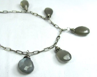 Gray Moonstone, Sterling Silver, Chandelier Necklace