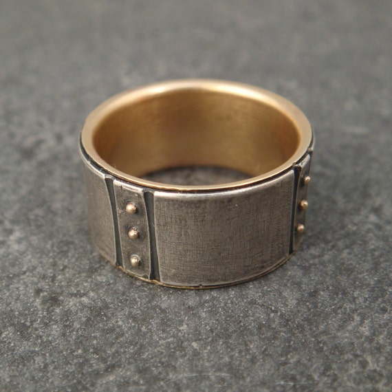 Wide Wedding Band - Sterling Ring w/ 14k Gold Lining and 14k Gold Granules