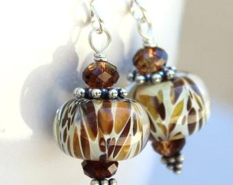 Animal Print Lampwork Earrings - Swarovski Crystal Earrings - Tan and Brown Boro Earrings