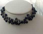 Blue Beaded Shaggy Loops Chainmail Bracelet
