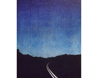 "woodblock print  Wall Art ""There was nowhere to go but everywhere, so just keep on rolling under the stars.""  ― Jack Kerouac, On the Road"