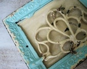 RESERVED for M - Antique Cast Iron VENT REGISTER Architectural Salvage - chic Chippy Aqua cottage shabby