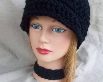 Ladies Crochet Hat with Brim in Black