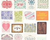 variety pack of nine letterpress greeting cards, gift set, blank inside, assorted cards, note cards, block print, colorful, hand printed