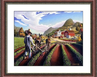 Appalachian folk art farm framed matted farm landscape print, Appalachia farmer cultivating peas, Americana, farmhouse decor,