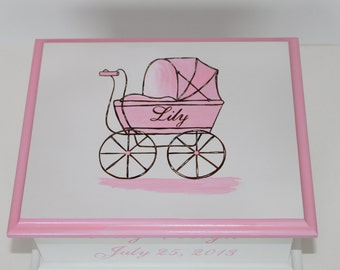 Pink Baby Carriage Keepsake Memory Box personalized baby gift hand painted