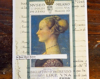 Art Card . Blank . Mixed Media Illustration Collage