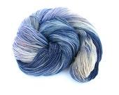 Blue sparkle sock wool, hand dyed fingering, 4ply sparkly gold superwash merino, Perran Yarns Mineral, knitting crochet, uk, yarn skein
