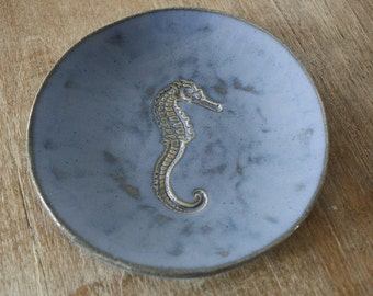 Handmade Stoneware Tapas Dish Plates with Nautical Seahorse Design in Blue