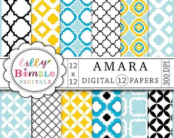 80% off Amara Digital Paper, Quatrefoil lattice work for photo cards, stationary, modern scrapbook papers, Instant Download, Lilly Bimble