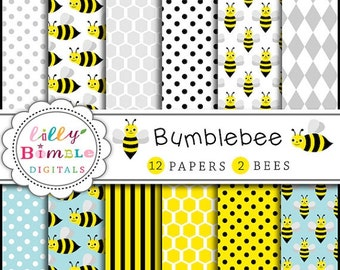 80% off BUMBLEBEE digital scrapbook paper, baby shower bee clipart polka dots, honeybees Instant Download